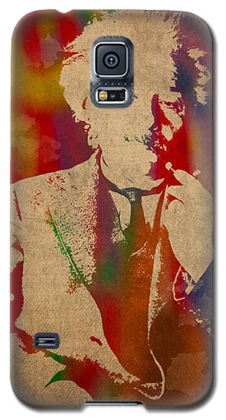 Portraits Galaxy S5 Case - Albert Einstein Watercolor Portrait On Worn Parchment by Design Turnpike