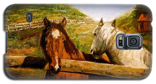 Galaxy S5 Case featuring the painting Alberta Horse Farm by Sher Nasser