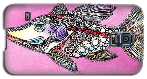 Galaxy S5 Case featuring the painting Alexandria The Fish by Iya Carson
