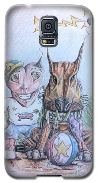 Galaxy S5 Case featuring the painting Alien Boy And His Best Friend by R Muirhead Art