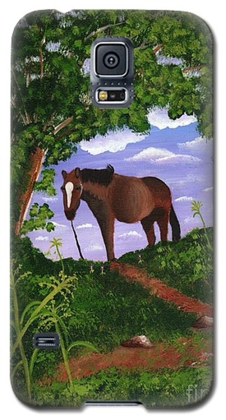Galaxy S5 Case featuring the painting All Alone by Laura Forde