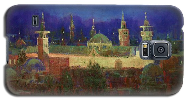 Galaxy S5 Case featuring the painting Almasjed Alamawe At Night - Damascus - Syria by Laila Awad Jamaleldin