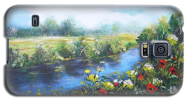 Galaxy S5 Case featuring the painting Along The Poppy Valley by Vesna Martinjak
