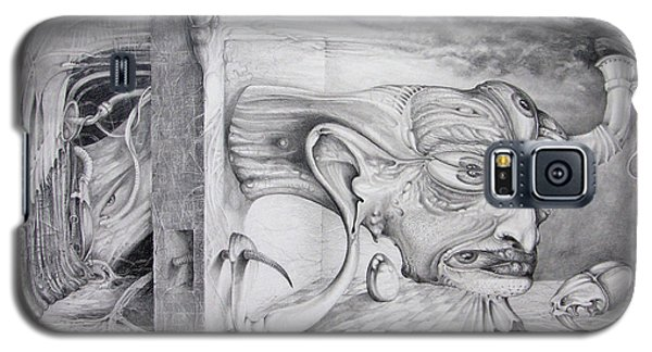 Galaxy S5 Case featuring the drawing Alpha And Omega - The Reconstruction Of Bogomils Universe by Otto Rapp