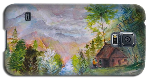 Galaxy S5 Case featuring the painting Alpine Landscape by Egidio Graziani