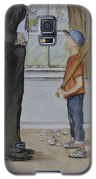 Galaxy S5 Case featuring the painting Am I In Trouble Dad... Broken Window by Kelly Mills