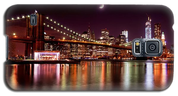 Amazing New York Skyline And Brooklyn Bridge With Moon Rising Galaxy S5 Case by Mitchell R Grosky
