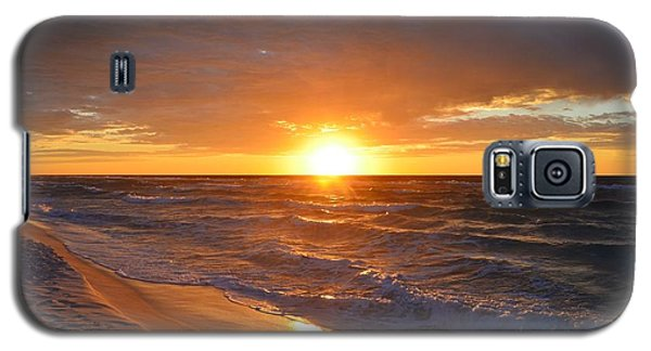 Galaxy S5 Case featuring the photograph Amazing Sunrise Colors And Waves On Navarre Beach by Jeff at JSJ Photography