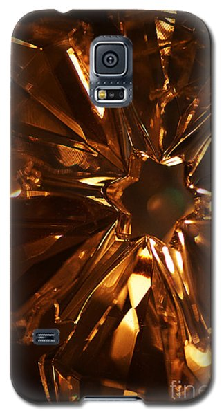 Galaxy S5 Case featuring the photograph Amber Crystal Snowflake by Linda Shafer