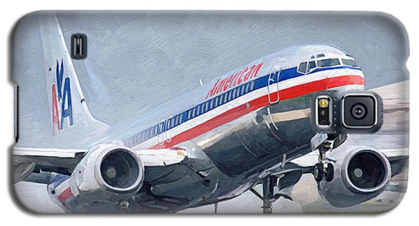 Galaxy S5 Case featuring the painting American Airlines Taking Off by Nop Briex