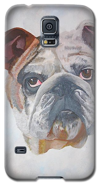 Galaxy S5 Case featuring the painting American Bulldog Pet Portrait by Tracey Harrington-Simpson