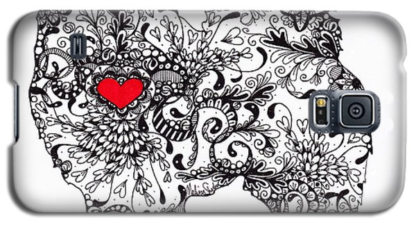 Galaxy S5 Case featuring the drawing American Eskimo by Melissa Sherbon