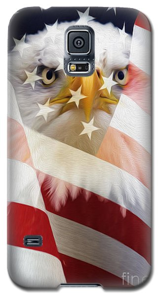 American Flag And Bald Eagle Montage Galaxy S5 Case