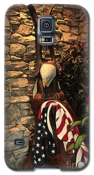 Galaxy S5 Case featuring the photograph American Flag And Eagle Wood Carving by Marjorie Imbeau