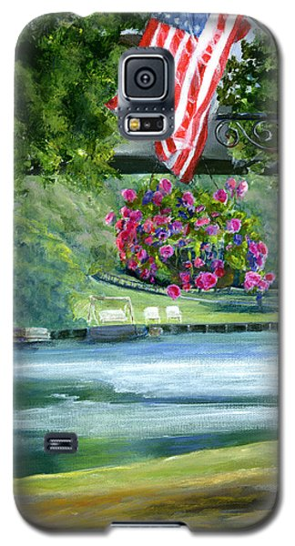 Galaxy S5 Case featuring the painting American Flag In Natchitoches Louisiana by Lenora  De Lude