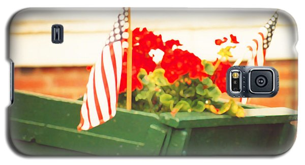 American Flags And Geraniums In A Wheelbarrow Two Galaxy S5 Case by Marian Cates