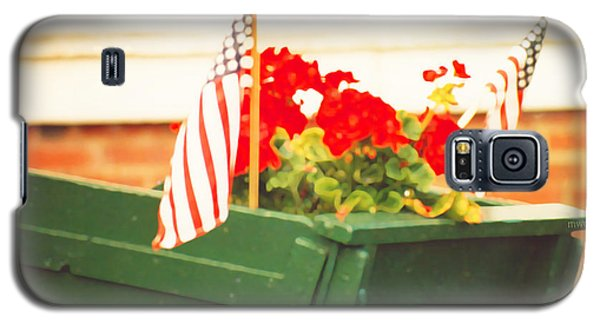 American Flags And Geraniums In A Wheelbarrow Two Galaxy S5 Case