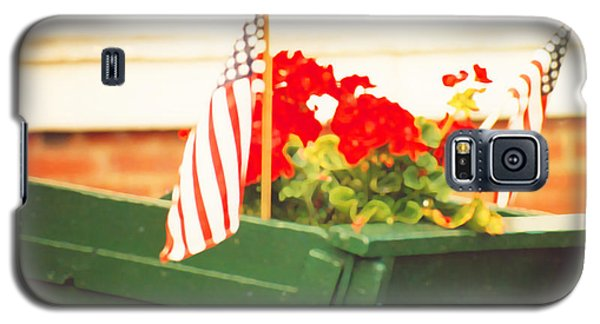 American Flags And Geraniums In A Wheelbarrow In Maine, Two Galaxy S5 Case