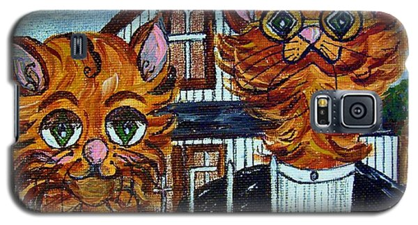 Galaxy S5 Case featuring the painting American Gothic Cats - A Parody by Eloise Schneider
