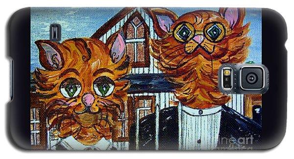 American Gothic Cats - A Parody Galaxy S5 Case by Eloise Schneider