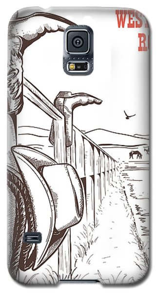 White Horse Galaxy S5 Case - American Ranch Landscape With Cowboy by Tancha