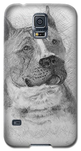 Galaxy S5 Case featuring the drawing American Staffordshire Terrier by Jim Hubbard