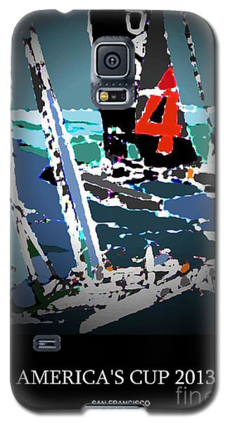 Galaxy S5 Case featuring the mixed media America's Cup 2013 Poster by Andrew Drozdowicz