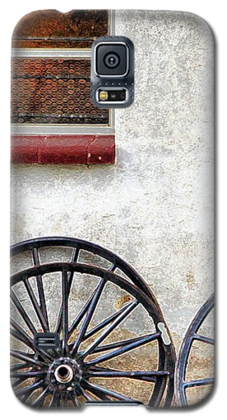 Galaxy S5 Case featuring the photograph Amish Buggy Wheels by Polly Peacock