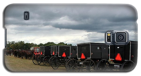 Galaxy S5 Case featuring the photograph Amish Car Park by Debra Kaye McKrill