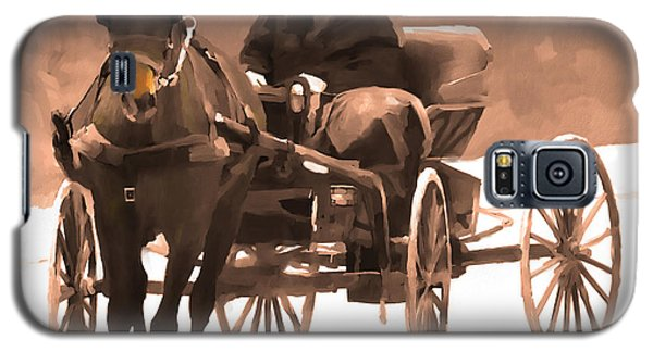 Galaxy S5 Case featuring the digital art Amish Carriage by Bob Salo