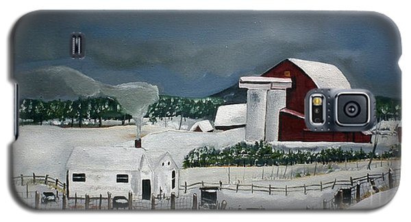Galaxy S5 Case featuring the painting Amish Farm - Winter - Michigan by Jan Dappen