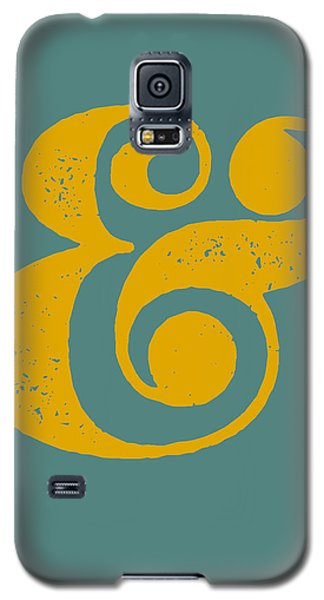 Ampersand Poster Blue And Yellow Galaxy S5 Case by Naxart Studio