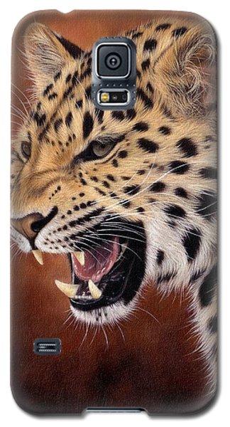 Amur Leopard Painting Galaxy S5 Case by Rachel Stribbling