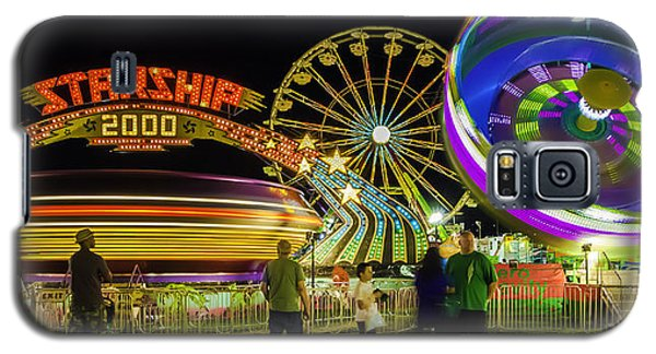 Amusement Park Rides At Night Galaxy S5 Case by Bob Noble Photography