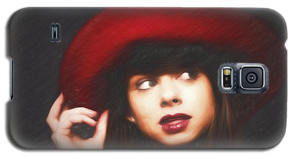 Amy And The Red Hat  ... Galaxy S5 Case by Chuck Caramella