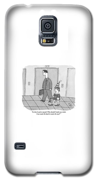 Elf Galaxy S5 Case - An Elf Carrying Briefcase Says To The Man by Peter C. Vey
