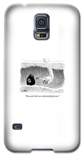 Ostrich Galaxy S5 Case - An Underground Mole Says To A Ostrich Poking by Will McPhail