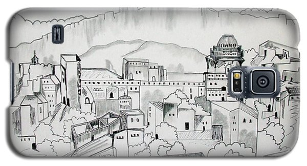 Galaxy S5 Case featuring the drawing Ancient City In Pen And Ink by Janice Rae Pariza