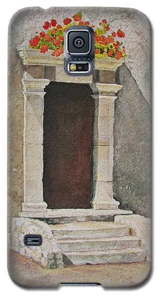Galaxy S5 Case featuring the painting Ancient  Doorway  by Mary Ellen Mueller Legault