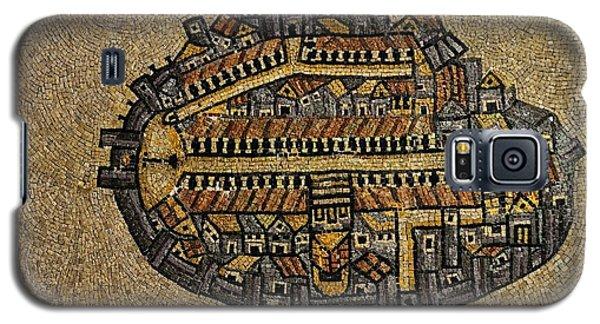 Ancient Jerusalem Mosaic Map Color Framed Galaxy S5 Case