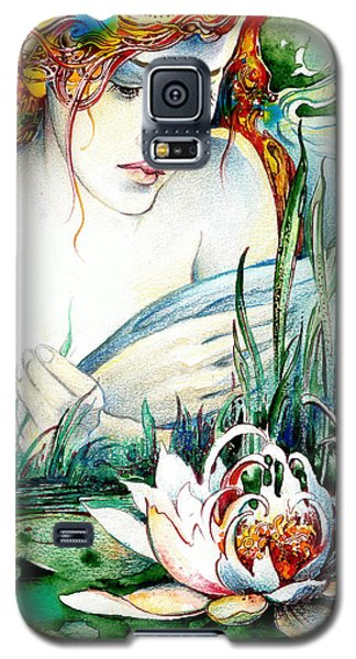 Galaxy S5 Case featuring the painting Angel And Lily by Anna Ewa Miarczynska