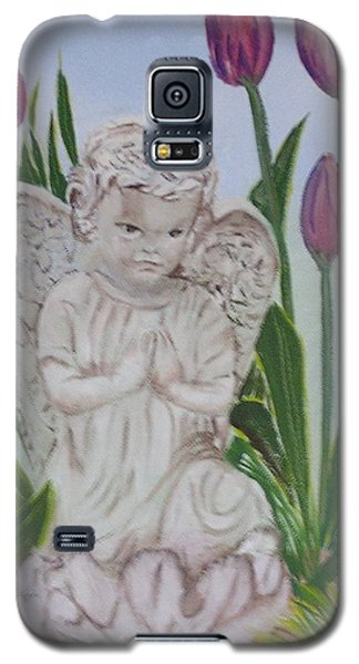 Galaxy S5 Case featuring the painting Angel In The Garden by Sharon Schultz