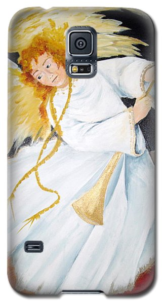 Galaxy S5 Case featuring the painting Angel Of The Apocalypse by Ellen Canfield