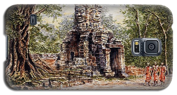 Galaxy S5 Case featuring the painting Angkor Temple Gate by Joey Agbayani