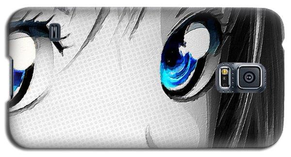Anime Girl Eyes 2 Black And White Blue Eyes Galaxy S5 Case