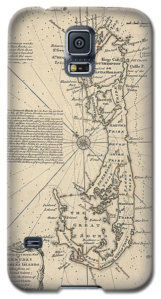 Galaxy S5 Case featuring the drawing Antique Map Of Bermuda By Emanuel Bowen - 1750 by Blue Monocle