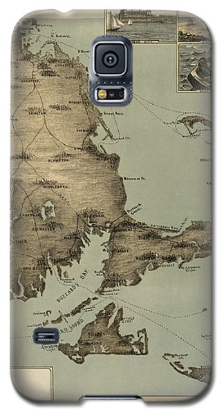 Antique Map Of Cape Cod Massachusetts By J. H. Wheeler - 1885 Galaxy S5 Case by Blue Monocle