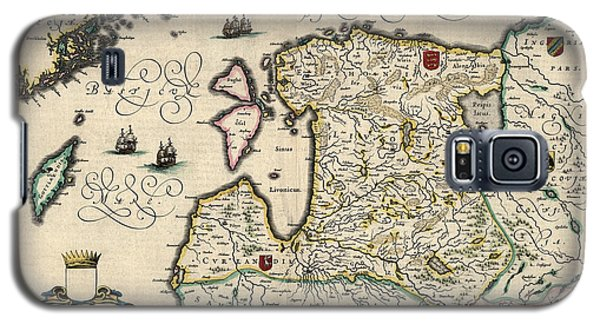Galaxy S5 Case featuring the drawing Antique Map Of Estonia Latvia And Lithuania By Willem Janszoon Blaeu - 1647 by Blue Monocle