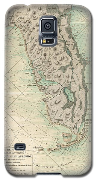 Galaxy S5 Case featuring the drawing Antique Map Of Florida - 1780 by Blue Monocle