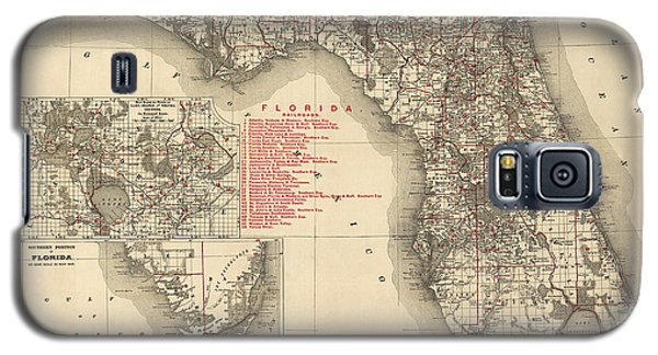 Antique Map Of Florida By Rand Mcnally And Company - 1900 Galaxy S5 Case by Blue Monocle